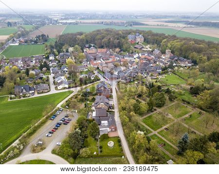 Aerial View Of The Historic Old Town Liedberg In Nrw, Germany.