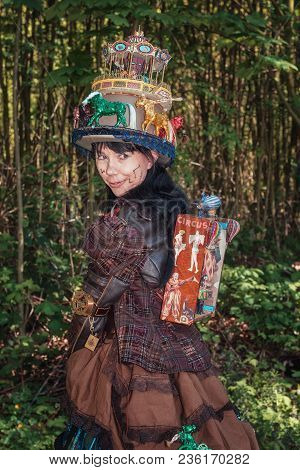April, 19, 2014, Haarzuilens, The Netherlands: Steampunk Girl Decorated With Circus And Fun Fair Att