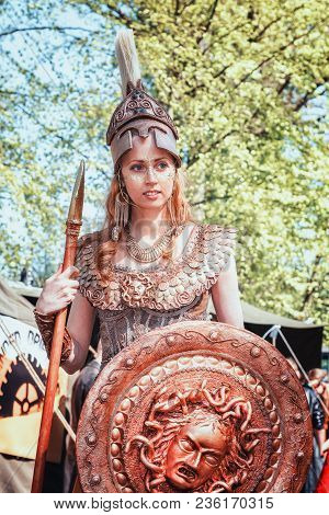April  19, 2014, Haarzuilens, The Netherlands: Athena The Goddess Of War And Wisdom During The Elf F
