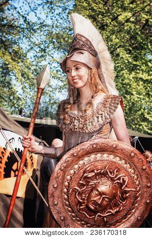 April, 19, 2014, Haarzuilens, The Netherlands: Athena The Goddess Of War And Wisdom During The Elf F