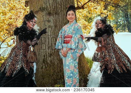 April, 19, 2014, Haarzuilens, The Netherlands: Geisha Flanked By Two Horrible Witches On The Elf Fan