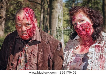 April, 19, 2014, Haarzuilens, The Netherlands: Bloody Couple On The Elf Fantasy Fair (elfia) Which I
