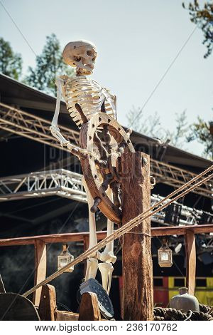 April, 19, 2014, Haarzuilens, The Netherlands: Skeleton Behind The Helm Of A Ship On The Elf Fantasy