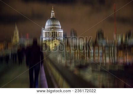 Night View Of St Paul Cathedral From The Millenium Bridge In London, Uk