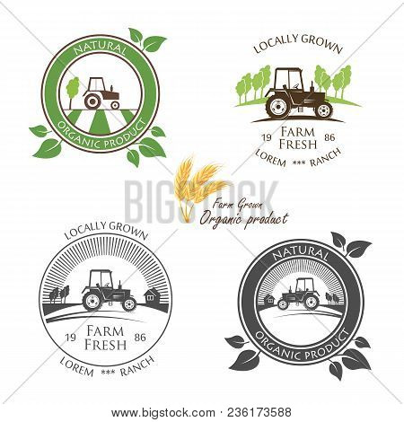 Fresh Farm Produce And Logo Tractor - Vector Illustration