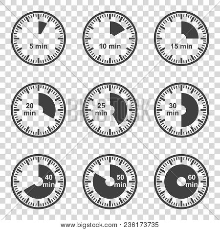 Set Of Icons Set Of Timers On A Transparent Background. Vector Illustration.