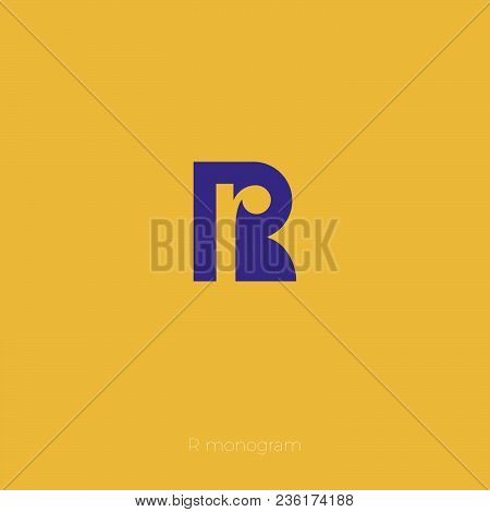 R Monogram. R Logo. The Letter In The Monogram On A Yellow Background.