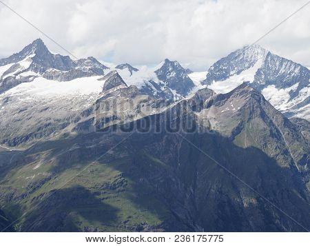 Alpine Mountains Range Landscapes In Swiss Alps At Switzerland, Picturesque Rocky Scenery, Seen From
