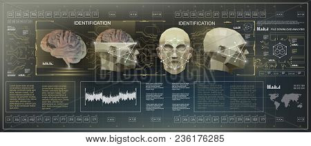 3d Low Poly Brain Scanning, Hud Medical Virtual Graphic Touch User Interface, Brain Scanning Accurat