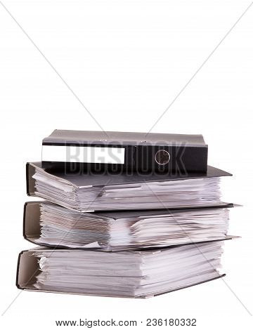 Office Folders With Documents. Documents In Folders On A White Background.