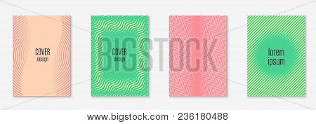 Cool Cover Template Set. Minimal Trendy Vector With Halftone Gradients. Geometric Cool Cover Templat
