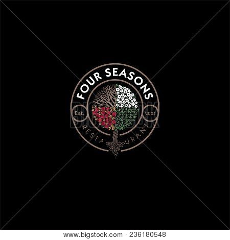 Four Seasons Restaurant Logo. Restaurant Or Hotel Emblem. Wood As The Seasons In A Circle With The L