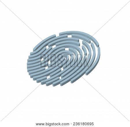 Mobile Application For Fingerprint Recognition In 3d. Vector Illustration Eps10 File.