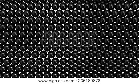 Black Shiny Spheres Forming A Background Pattern. Computer Generated 3d Illustration.