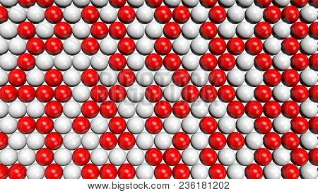 Red And White Shiny Spheres Forming A Background Pattern. Computer Generated 3d Illustration.