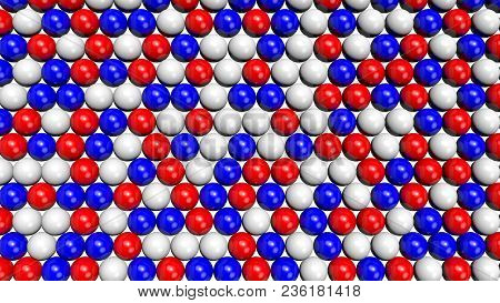 Red, White And Blue Shiny Spheres Forming A Background Pattern. Computer Generated 3d Illustration.