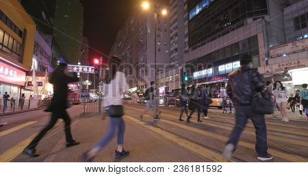North Point, Hong Kong, 16 March 2018:- People crossing the road at night