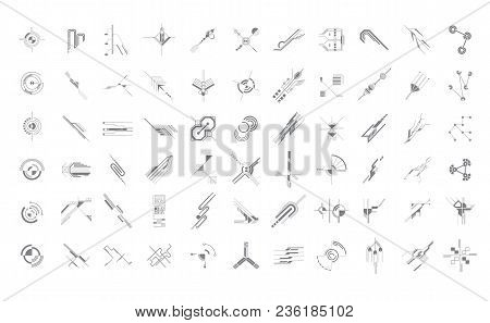 Set Of Abstract Hud Elements Isolated On White Background. Science And Technology Concept. Futuristi