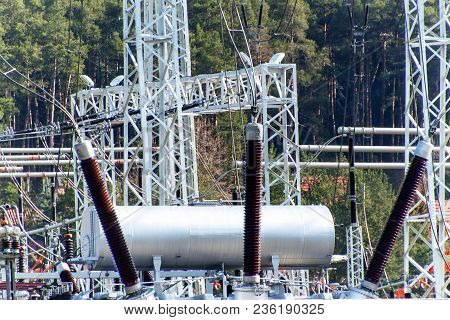 Production Of Electricity. Energy Concept. Substation For High Voltage Conversion And Distribution O