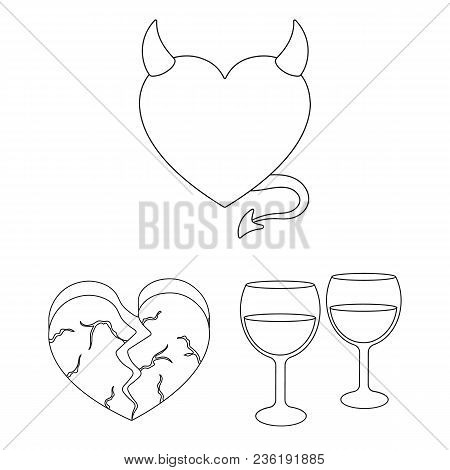 Romantic Relationship Outline Icons In Set Collection For Design. Love And Friendship Vector Symbol