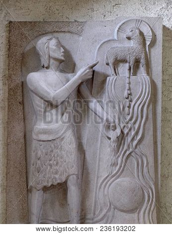 MUNSTERSCHWARZACH, GERMANY - JULY 09: Saint John the Baptist, altar in Munsterschwarzach Abbey, Benedictine monastery, Germany on July 09, 2017.