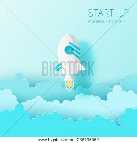 Paper Art Of Space Shuttle Launch To The Sky. Blue Sky, Fluffy Paper Cloud. Rocket Launch. Start Up