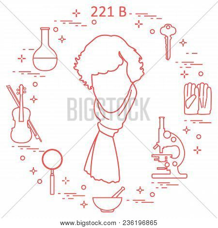 Private Detective Sherlock Holmes With Variety Tools And Equipment. The Hero Of The Popular Tv Serie