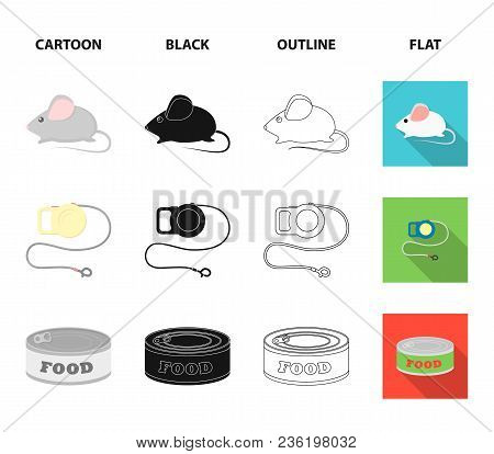 Mouse, Pet Leash, Pet Food, Kitten. Cat Set Collection Icons In Cartoon, Black, Outline, Flat Style