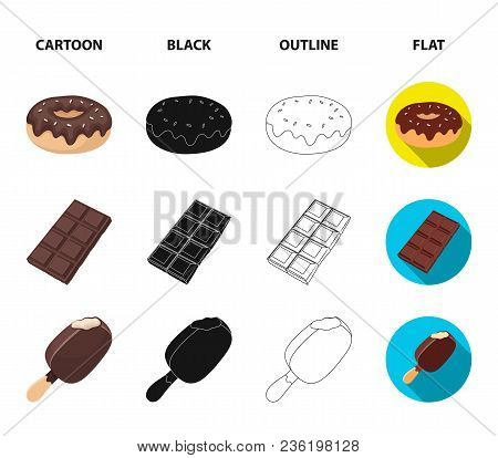 Donut With Chocolate, Zskimo, Shokolpada Tile, Biscuit.chocolate Desserts Set Collection Icons In Ca