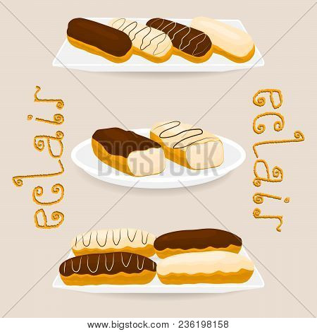 Vector icon illustration logo for cake French eclair with custard cream. Eclair pattern consisting of different colored sweet french dessert confection. Eat tasty cakes eclairs covered in glaze creams poster