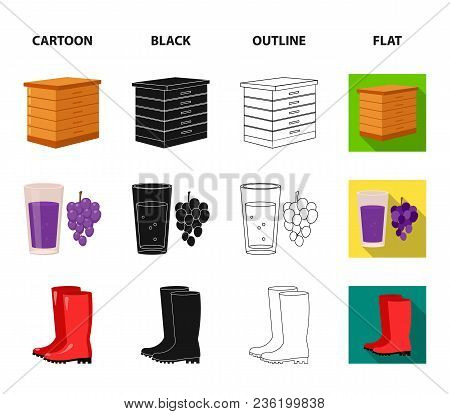 Hive, Grapes, Boots, Wheelbarrow.farm Set Collection Icons In Cartoon, Black, Outline, Flat Style Ve