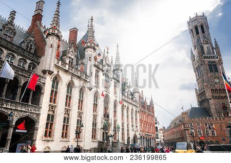 Bruges, Belgium - September 22nd, 2014: View Of The Great Market With Belfry, Provincial Palace And