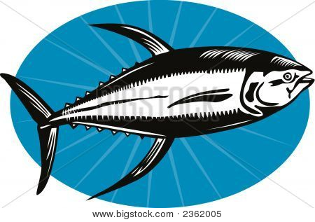 Vector art of a Yellow fin Tuna woodcut style poster