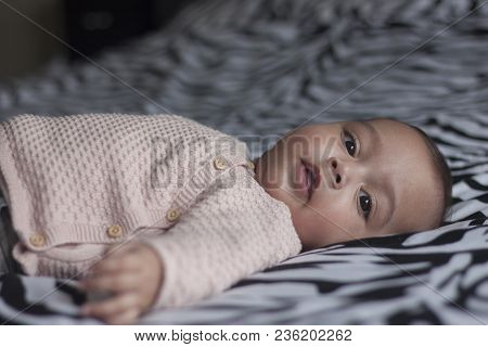 Portrait Of A Baby Girl Under One Year Old Lying On Back On Parents Bed Looking In The Camera