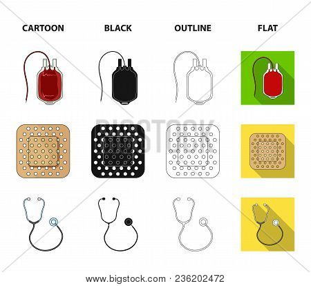 Package With Donor Blood And Other Equipment.medicine Set Collection Icons In Cartoon, Black, Outlin