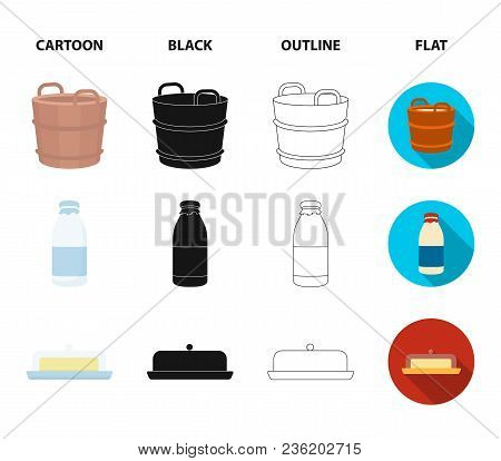 A Barrel Of Milk, Butter, A Cow. Milk Set Collection Icons In Cartoon, Black, Outline, Flat Style Ve