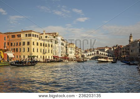 Venice, Italy - November 12, 2016: View On The Grand Canal Of Venice With Rialto Bridge In The Backg