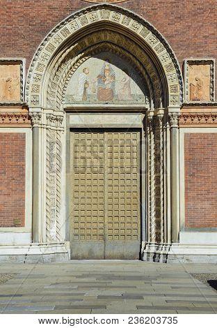 Front Door Of Santa Maria Del Carmine Church In Brera Neighbourhood Of Milan, Italy