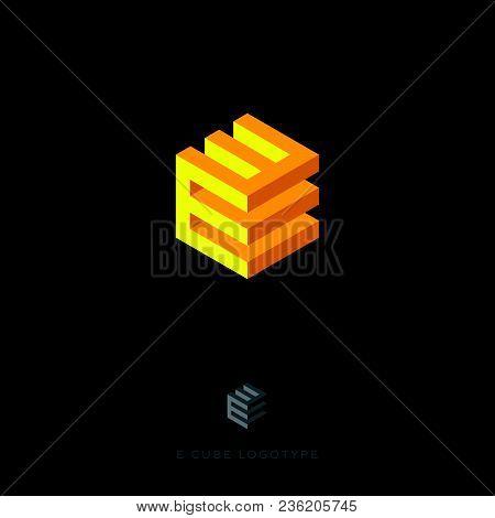 E Cube Yellow Logo. Building Logo. E Monogram. E Cube Yellow Logo On The Dark Background
