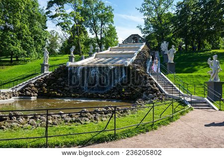 Saint- Petersburg, Russia - July 11, 2016: The Chess Mountain Cascade  In The Lower Garden Of Peterh