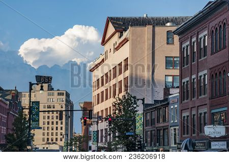 Portlan, Me - August 3, 2013: Old Brick Building In One Of The Main Street On August 3, 2013 In Port