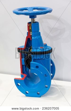 Latch Industrial Pipe Valve In A Section. Industry