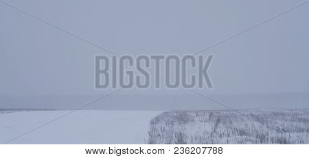 The Snow-covered Field. Everywhere Blue-gray Shades. The Field Is Divided Into Two Parts - The Right