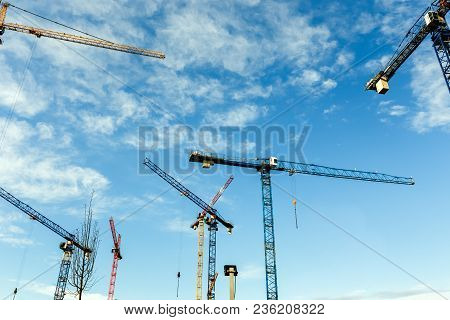 Many High Tower Cranes Work On A Construction Of New Homes. Wide Angle.
