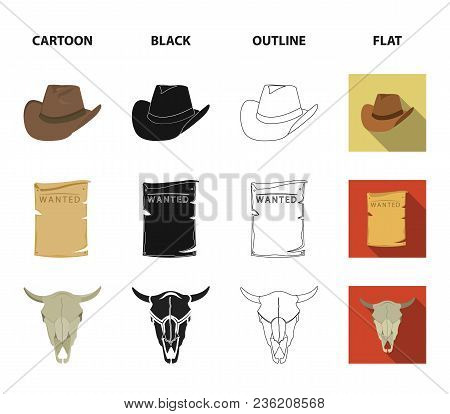 Cowboy Hat, Is Searched, Cart, Bull Skull. Wild West Set Collection Icons In Cartoon, Black, Outline