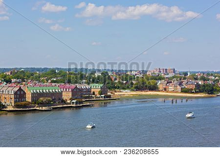 A Panoramic View On Old Town Alexandria From The Potomac River, Virginia, Usa. A River Waterfront Of