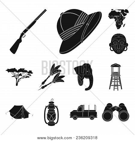 African Safari Black Icons In Set Collection For Design. Trophies And Equipment For Safari Vector Sy