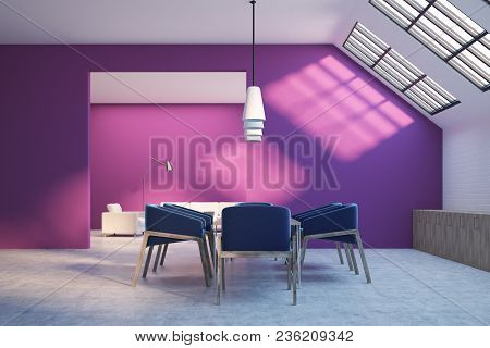 Attic Dining Room Interior With Purple And White Walls, A Concrete Floor, A Table With Dark Blue Cha