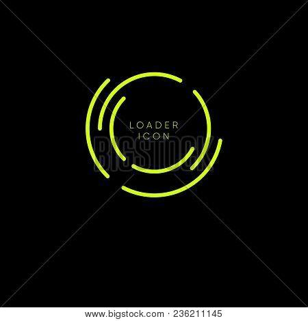 Yellow Line Loading Icon On Dark Background. Load Logo.