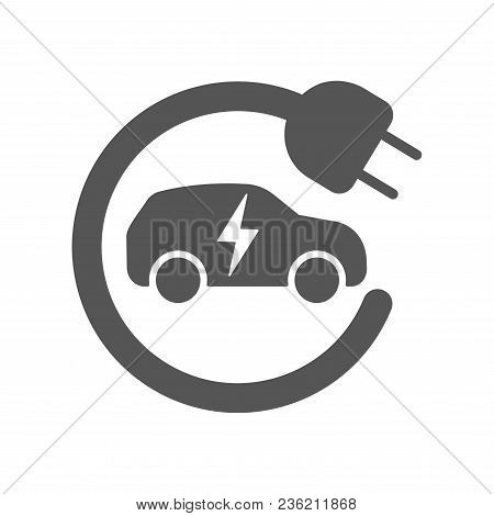 Electric Car In Refill Icon, Vector. Electric Refueling. Eco Transportation. Eps 10
